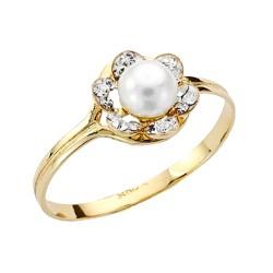 Sortija oro 9k flor centro perla circonitas 8mm. comunión [AA7526]