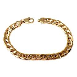 Pulsera oro 18k cadena barbada 22cm. hueca ancho 8mm. cierre mosquetón hombre [58]