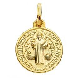 Medalla oro 18k escapulario San Benito 14mm. [AB3801]