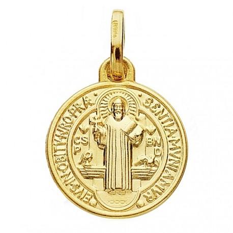 Medalla oro 18k escapulario San Benito 14mm. unisex