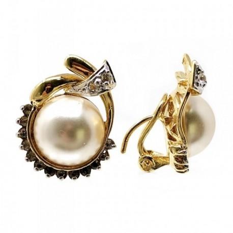 Pendientes bisutería metal dorados 27mm. perla enlazada [AB4996]