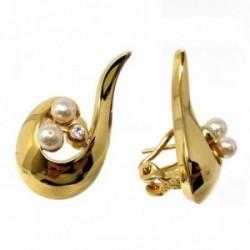 Pendientes bisutería metal dorados 27mm. ondulados perlas [AB4998]