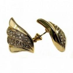 Pendientes bisutería metal dorados 37mm. alas lisas [AB5003]