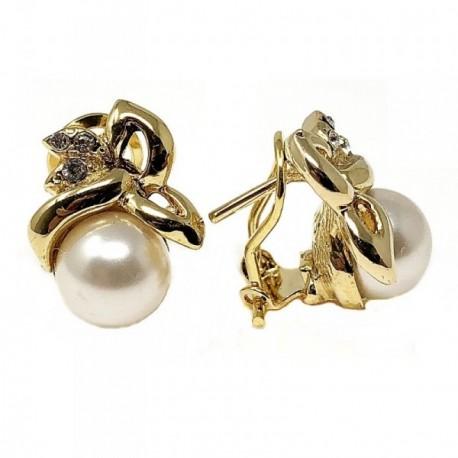 Pendientes bisutería metal dorados 17mm. perla [AB5005]