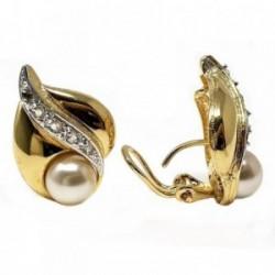 Pendientes bisutería metal dorados 24mm. perla plateado [AB5006]