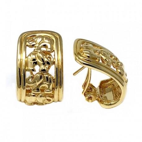 Pendientes bisutería metal dorados 25mm. calados elefantes [AB4986]