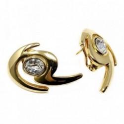 Pendientes bisutería metal dorados forma 31mm. piedra [AB4985]