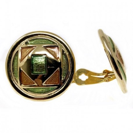 Pendientes bisutería metal dorados 34mm. formas verdes [AB4984]