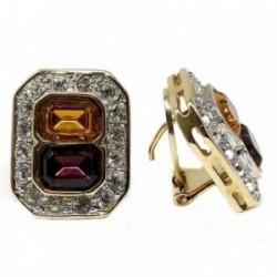 Pendientes bisutería metal dorados 21mm. rectangulares [AB4983]