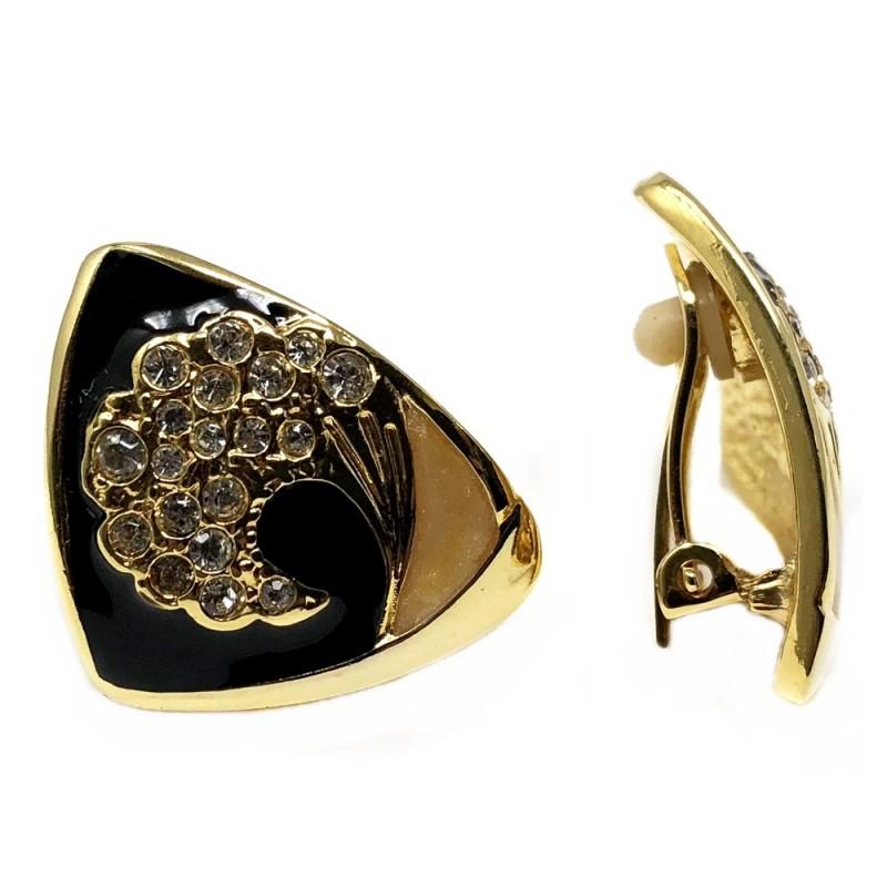 44659df48e1a Pendientes bisutería dorados triángulo negro esmaltado  AB4981
