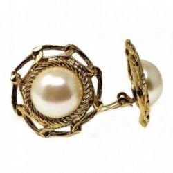 Pendientes bisutería metal dorados 33mm. perla borde brocado [AB4980]