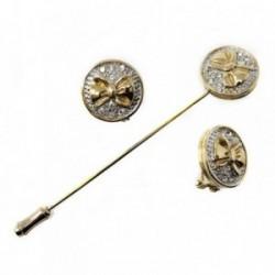 Juego bisutería pendientes alfiler dorados piedras lazo [AB4979]