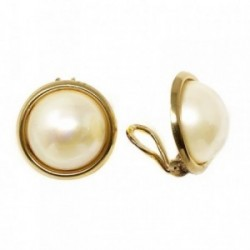 Pendientes plata ley 925m dorados antialérgicos 20mm. perla [AB4978]