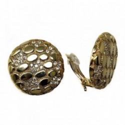Pendientes bisutería metal dorados 30mm. piedras blancas [AB4977]