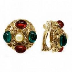 Pendientes bisutería metal dorados perla piedras 24mm. rojo [AB4976]
