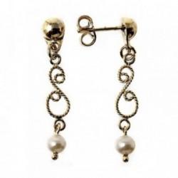 Pendientes metal largos dorados 28mm. filigrana perla. [AB5042]