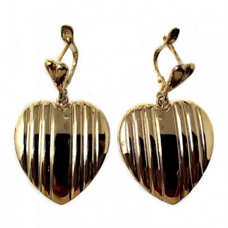 Pendientes plata Ley 925m largos 40mm chapados dorado corazón [AB5045]
