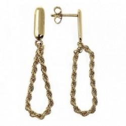 Pendientes metal largos dorados 52mm. lazo cordón. [AB5046]