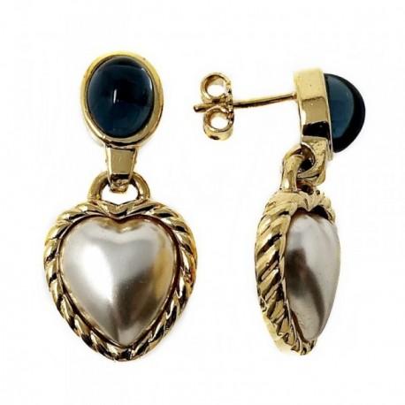 Pendientes metal largos dorados 26mm. perla forma corazón [AB5052]