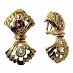 Pendientes metal largos dorados 36mm. doble abanico piedras  [AB5055]