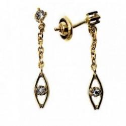 Pendientes metal largos dorados 27mm. piedra blanca cadena [AB5057]