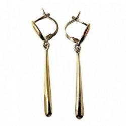 Pendientes plata Ley 925m largos 47mm. dorados lisos lágrimas [AB5058]