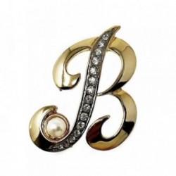 Alfiler metal chapado letra B bicolor 42mm.dorado piedras [AB5109]