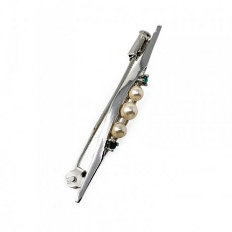 Alfiler plata Ley 925m rodio 50mm. perlas piedras verdes [AB5110]
