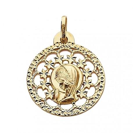 Medalla oro 18k Virgen Niña 23mm. redonda calada [9032]