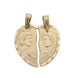 Colgante oro 9k corazón partido pareja  [AB4864]