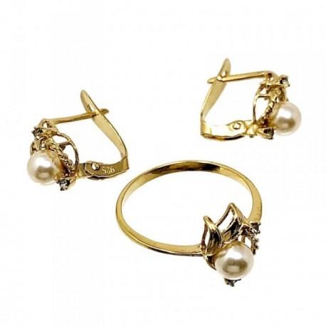 Juego plata ley 925m pendientes sortija perlas [AB5037]