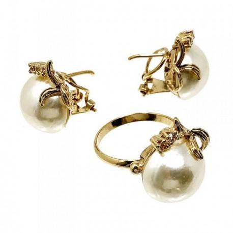 Juego plata ley 925m pendientes sortija perlas imitación [AB5039]