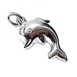 Colgante plata ley 925m liso infantil delfín 15mm. [AB0565]