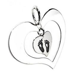 Colgante plata ley 925m corazones movibles motivo pies [AB2679]