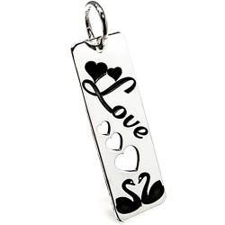 Colgante plata Ley 925m motivo Love corazones cisnes 3,1cm. [AB3541]