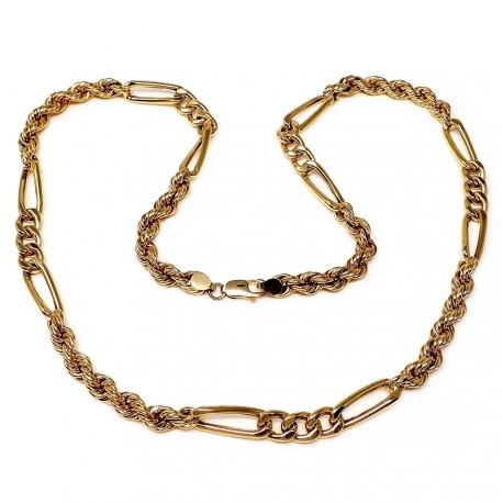 Cordón oro 18k salomónico combinado cartier hueco 60cm. 7mm. [7242]