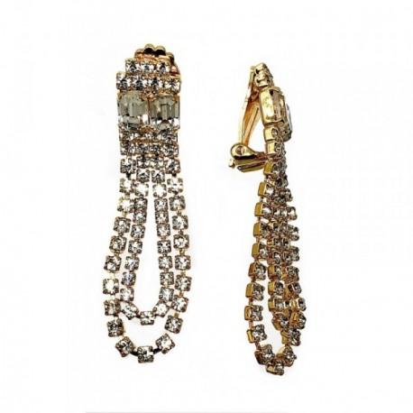 Pendientes largos bisutería metal dorados 56mm. piedras [AB5060]