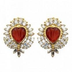 Pendientes bisutería metal dorados 32mm. corazón piedra roja [AB5067]