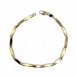 Pulsera bisutería metal dorada 20cm. eslabones brillo mate [AB5068]
