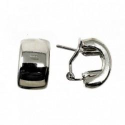 Pendientes bisutería metal rodio 17mm. anchos media luna [AB5094]