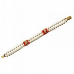 Pulsera bisutería metal dorada 20cm. perlas blancas naranjas [AB5103]
