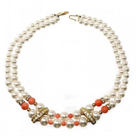 Gargantilla bisutería metal dorada 42cm. perlas blancas [AB5104]