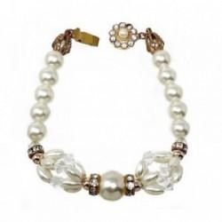 Pulsera bisutería metal dorada 20cm. perlas blancas [AB5105]