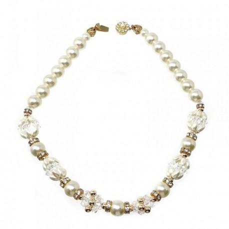 Gargantilla bisutería metal dorada 45cm. perlas blancas [AB5106]