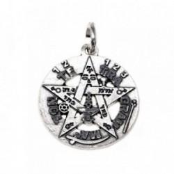 Colgante plata Ley 925m Tetragramatón 21 mm. amuleto [AB5164]
