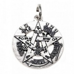 Colgante plata Ley 925m Tetragramatón 26 mm. amuleto [AB5165]