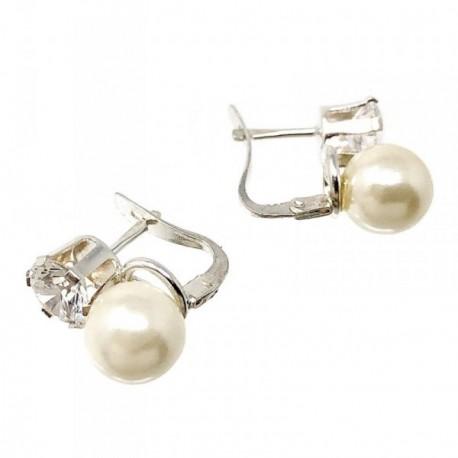 Pendientes plata Ley 925m 14mm. circonita garra perla [AB5007]