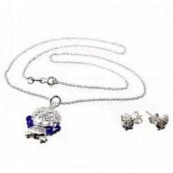 Juego plata Ley 925m estampado pendientes colgante muñeco [AB5014]
