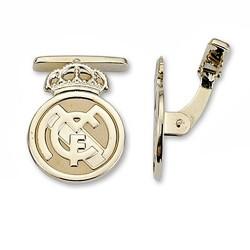 Gemelos escudo Real Madrid oro de ley 9k amarillo lisos [6491]