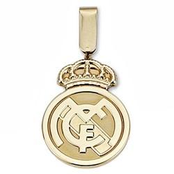 Colgante escudo Real Madrid oro de ley 18k 24mm. liso [6568]